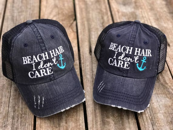 Beach Hair I Don t Care Trucker Hat with Your Choice of  bab6b58d9b4