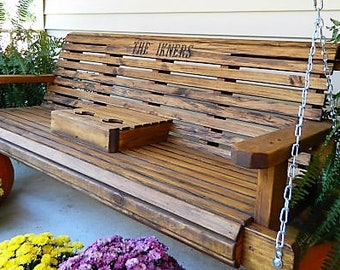 5ft Porch Swing, Solid Wood Patio Swing, Outdoor Gift for Family, Wooden Anniversary Gift with Option to Personalize, Outdoor Bench