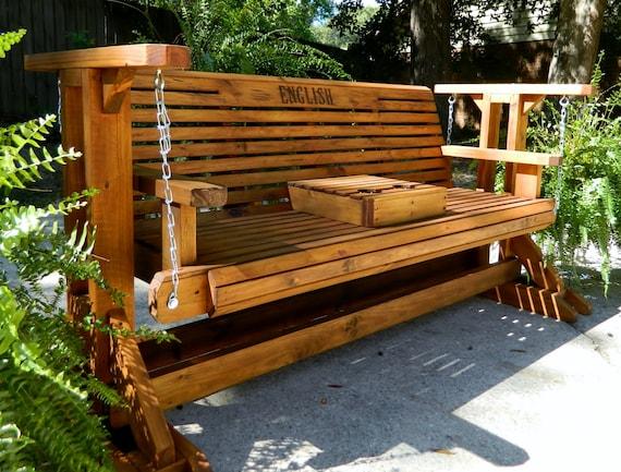 5ft Glider Swing With Stand Patio, Garden Glider Bench
