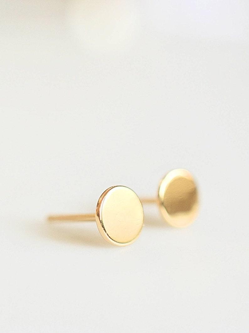 7e7aa0406 Minimal Simple Disc Stud Earrings Silver Dot Stud Earrings   Etsy