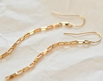 Mini Elongated Box Chain Earrings in 14k Gold Fill or Sterling Silver, Dangler Earrings, Chain Drop Earrings
