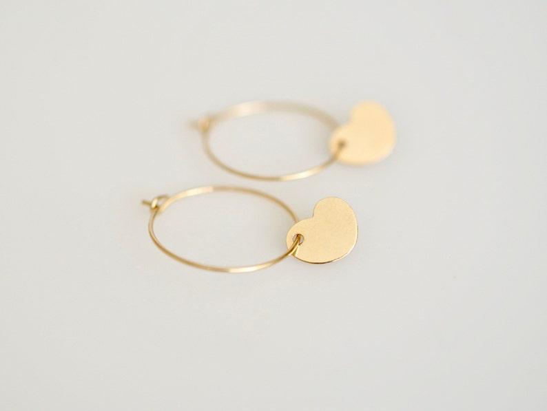 e341ff233061a Just Because Earrings, Gold or Silver Heart Charm Hoop Earrings, Minimal  Small Hoop Earrings