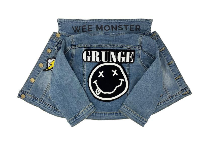 KidsChildrenBoysGirls Unisex Grunge Patch Music DenimJean Jacket