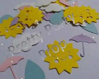 Rain Rain Go Away Confetti. Umbrella and clouds confetti 150 pieces.