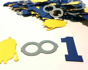 Oversized Minions Themed confetti , Minion themed confetti set of 100 pieces personalized with the number you choose
