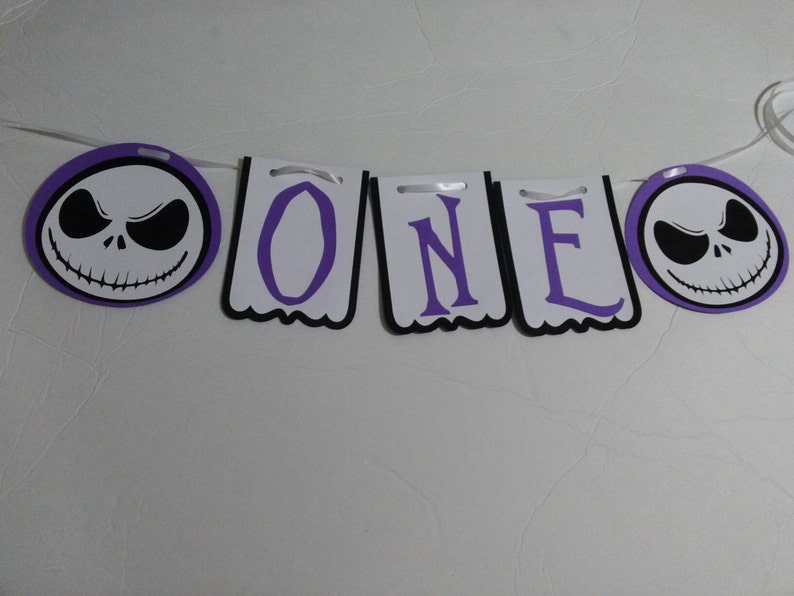 Christmas Themed 1st Birthday Party.Nightmare Before Christmas Themed 1st Birthday Banner Jack Skellington High Chair Banner One Sign