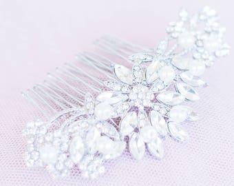 The ANASTASIA Comb in Rose Gold or Silver. Swarovski Crystals. Wedding hair comb, Pearl, bridal hair accessories, prom, Vintage