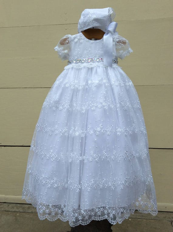 3e6b086accd0 Daisy-Baptism Gown-lace christening gown-white baby dress