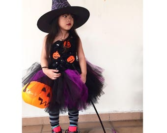 Halloween Witch Tutu Dress, witch tutu, black tutu dress, pumpkin tutu