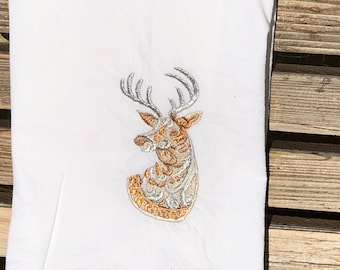 A Christmas Deer, Buck is embroidered on a white flour sack tea towel, dish towel, cotton