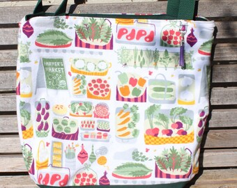 Farmers Market, Flannel Fabric tote bag, Reusable shopping bag,groceries, lunch, books, diapers, or overnight bag , Canvas lined and botom