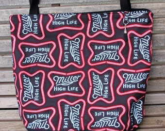 Miller time Beer Neon Signs tote bag, Reusable shopping bag, groceries, lunch, books, diapers, or overnight bag , Canvas lined and bottom