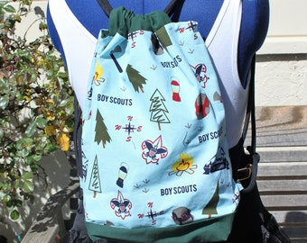 Boy Scout outdoor adventure Drawstring backpack, a fun accessory for any outfit, Canvas lined and bottom for durability, inside pocket