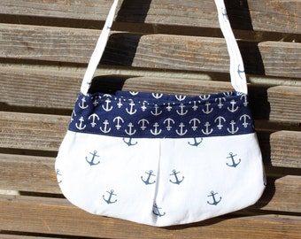Anchors small bag, child sized or small purse.  Lined in Coordinated cotton