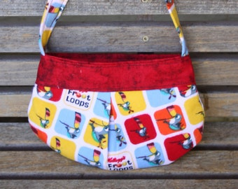 Froot Loops Cereal small bag, child sized or small purse.  Lined in Coordinated cotton