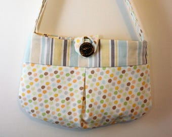 Little girl pleated dot purse  Small bag, child sized or small purse.  Lined in Coordinated stripes.  Button closure, Perfect for essentials