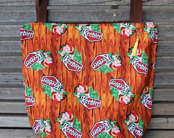 Keebler Elves tote fabric tote, Reusable shopping bag, Great for groceries, lunch, books, diapers or overnight bag Canvas lined and bottom