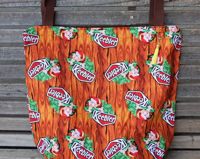 Featured listing image: Keebler Elves tote fabric tote, Reusable shopping bag, Great for groceries, lunch, books, diapers or overnight bag Canvas lined and bottom