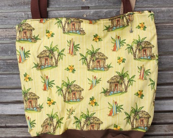 Tropical, beach, surf tote bag, Reusable shopping bag  groceries, lunch books, diapers, or overnight bag , Canvas lined and bottom