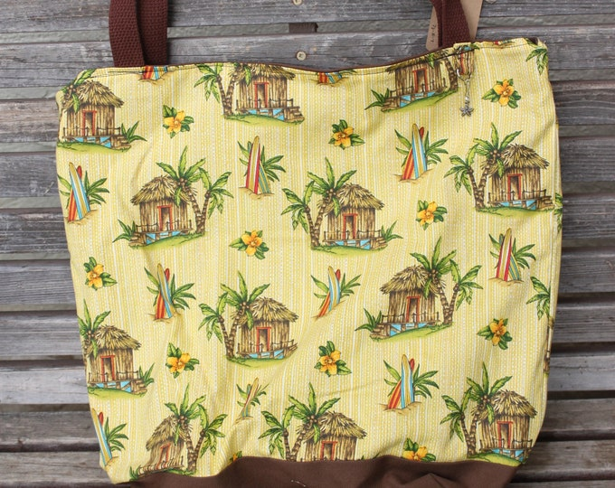 Featured listing image: Tropical, beach, surf tote bag, Reusable shopping bag  groceries, lunch books, diapers, or overnight bag , Canvas lined and bottom