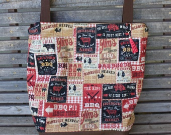 BBQ labels sauce restaurants tote bag, Reusable shopping bag, groceries, lunch, books, diapers, or overnight bag , Canvas lined and bottom