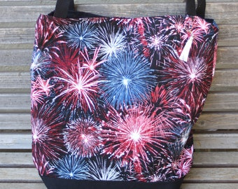 Fireworks tote bag.  Reusable shopping bag,  Great for groceries, shopping, lunch, books, diapers or overnight bag Canvas lined and  bottom