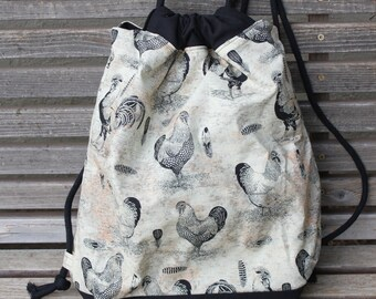 Chicken Rooster Drawstring backpack, a fun accessory for any outfit, Canvas lined and bottom for durability, inside pocket