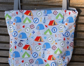 Camping, Compass, Map tote bag, Reusable shopping bag Great for groceries, lunch, books, diapers, or overnight bag , Canvas lined and bottom
