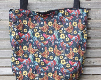Chicken / rooster tote bag, Reusable shopping bag,Great for groceries, lunch, books, diapers or overnight bag Canvas lined and  bottom