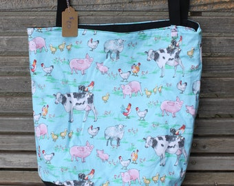 Farm animals tote bag, Reusable shopping bag  groceries, lunch, books, diapers, or overnight bag , Canvas lined and bottom