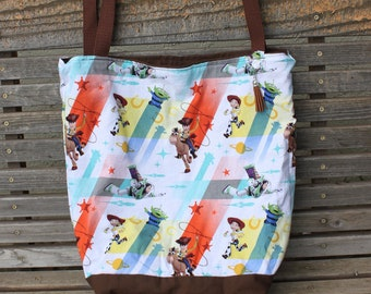 Toy Story, woody, buzz, jesse tote bag, Reusable shopping bag  groceries, lunch, books, diapers, or overnight bag , Canvas lined and bottom