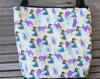 Jasmine Princess Aladin tote, Reusable shopping bag, Great for groceries, lunch, books, diapers or overnight bag, Canvas lined and bottom