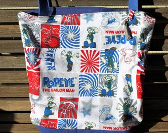 Popeye the Sailor Man flannel tote, Reusable shopping bag, groceries, lunch, books, diapers or overnight bag Canvas lined and  bottom