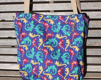 Colorful Lizards Gecko tote bag, Reusable shopping bag , Great for groceries, lunch, diapers, or overnight bag , Canvas lined and bottom