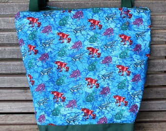 Frogs on blue background tote bag, Reusable shopping bag, For groceries, lunch, diapers, or overnight bag , Canvas lined and bottom