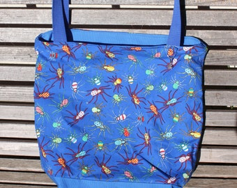 Spiders tote bag, Reusable shopping bag, Great for groceries, shopping, lunch, books, diapers, or overnight bag , Canvas lined and bottom