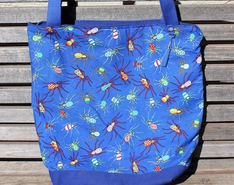 Multicolored spider tote bag, Reusable shopping bag,  groceries, lunch, books, diapers, or overnight bag , Canvas lined and bottom