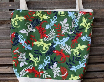 Lizard, Gecko, Flannel Fabric tote, Reusable shopping bag, groceries, lunch, books, diapers, or overnight bag , Canvas lined and bottom