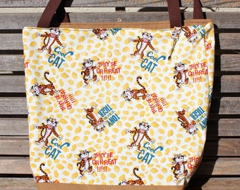 Tony the Tiger, They're Great tote bag, Reusable shopping bag, groceries, lunch, books, diapers, or overnight bag , Canvas lined and bottom