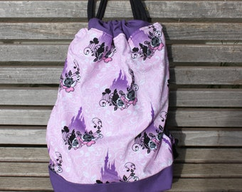 Princess Castle Drawstring backpack,  a fun accessory for any outfit, Canvas lined and bottom for durability, inside pocket