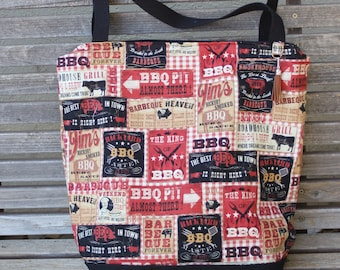 BBQ labels sauce restaurants tote bag, Reusable shopping bag , Great for groceries, lunch, books, diapers, or overnight bag , Canvas lined