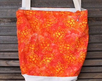 Sea turtles Orange Batik tote, Reusable shopping bag,  Great for groceries, lunch, books, diapers, or overnight bag Canvas lined and bottom