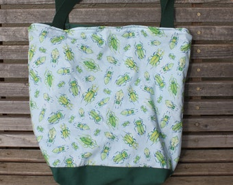 Bugs tote bag, Reusable shopping bag .  Great for groceries, shopping, lunch, books, diapers, or overnight bag , Canvas lined and bottom