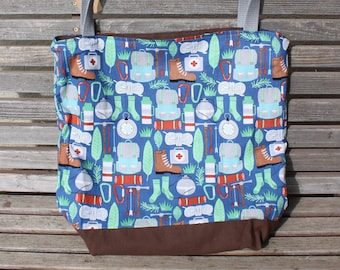 Camping Backpacking tote bag.  Great for groceries, shopping, lunch, books, diapers, or overnight bag , Canvas lined