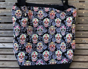 Day of the dead, sugar skulls tote bag, Reusable shopping bag Great for groceries, shopping, lunch, or overnight bag , Canvas lined
