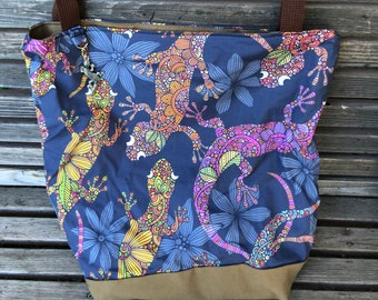 Large Reptile, Lizard, gecko, tote bag, Reusable shopping bag Great for groceries, shopping, lunch, or overnight bag , Canvas lined