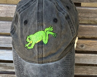 A jumping frog is  Embroidered on a Baseball Hat Cap, Adjustable hat, adult, dad hat, trucker hat