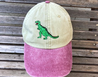 T-Rex dinosaur is Embroidered on a Baseball Hat Cap, Adjustable hat, adult, dad hat, trucker hat