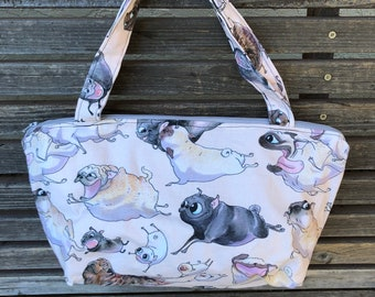 Cartoon Corgi, Dog, Pet  fabric, vinyl lined bag, perfect for snack or lunch, cosmetics, makeup or even as a purse, Use as a fun gift bag