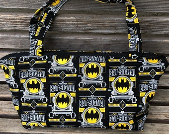 Batman Bat Signal fabric, vinyl lined bag, perfect for snack or lunch, cosmetics, makeup or even as a unique purse.